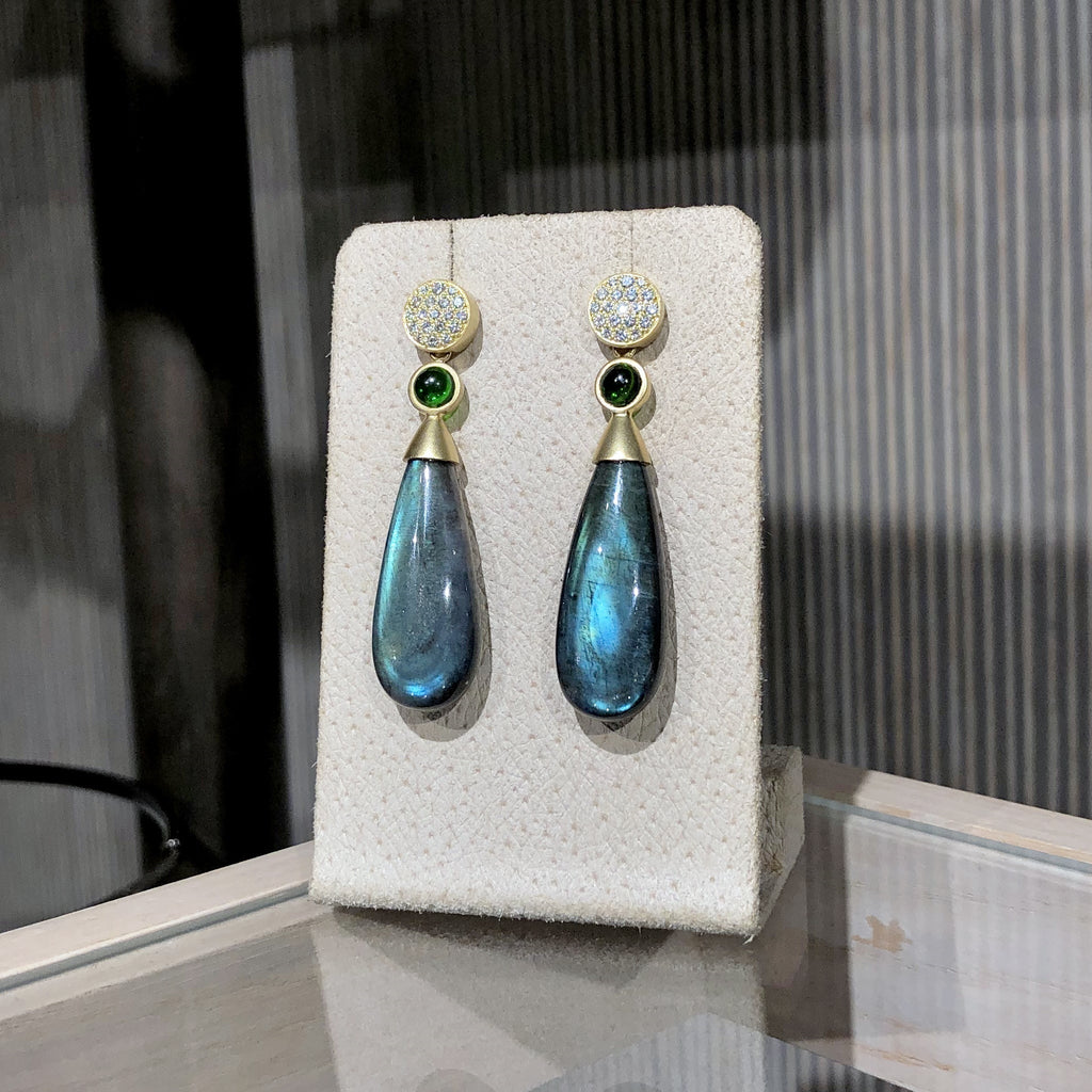 Susan Sadler Diamond Stud Labradorite Chrome Diopside Detachable Drop Earrings - Szor Collections
