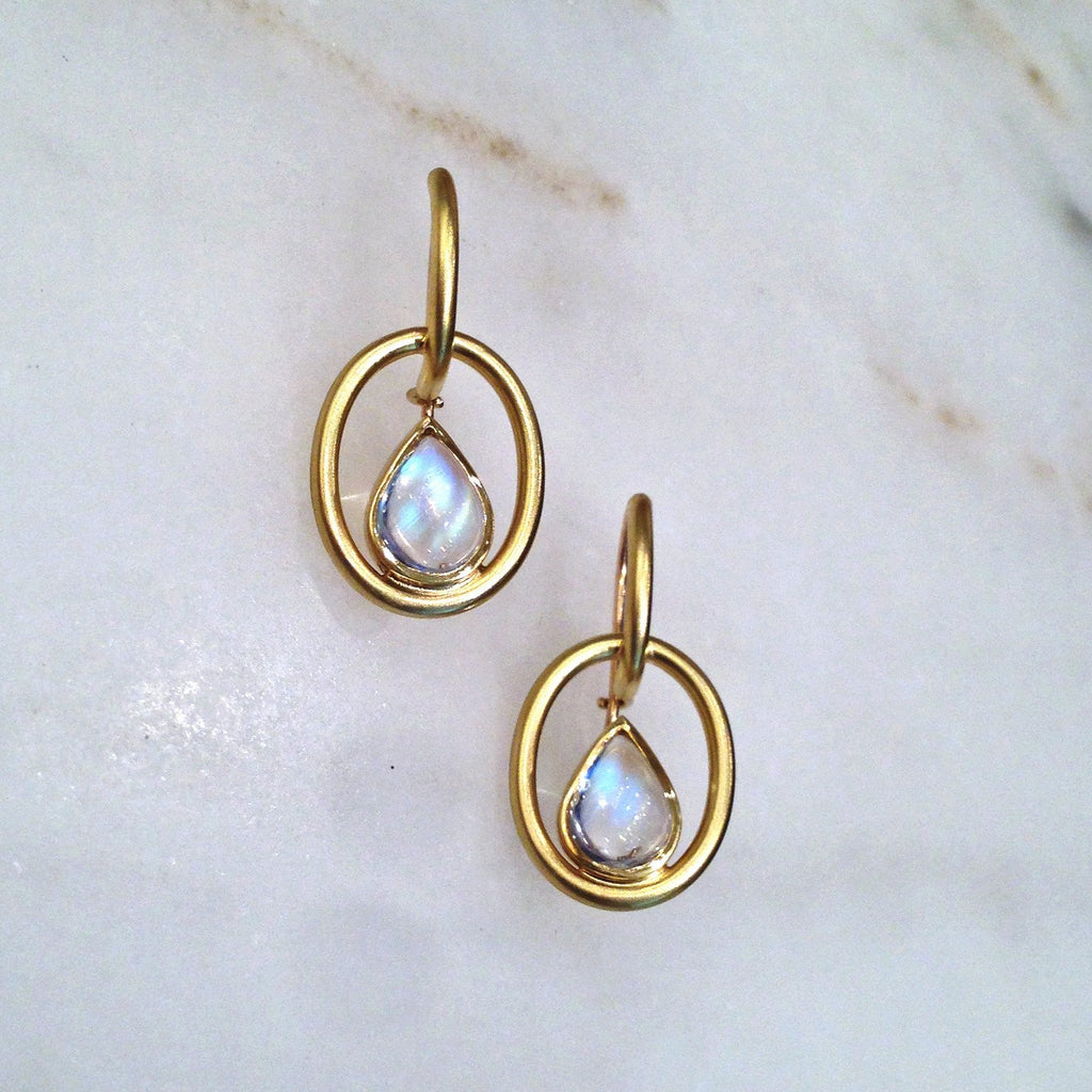 Susan Sadler Pear-Shaped Blue Moonstone Interlink Gold Hook Earrings - Szor Collections