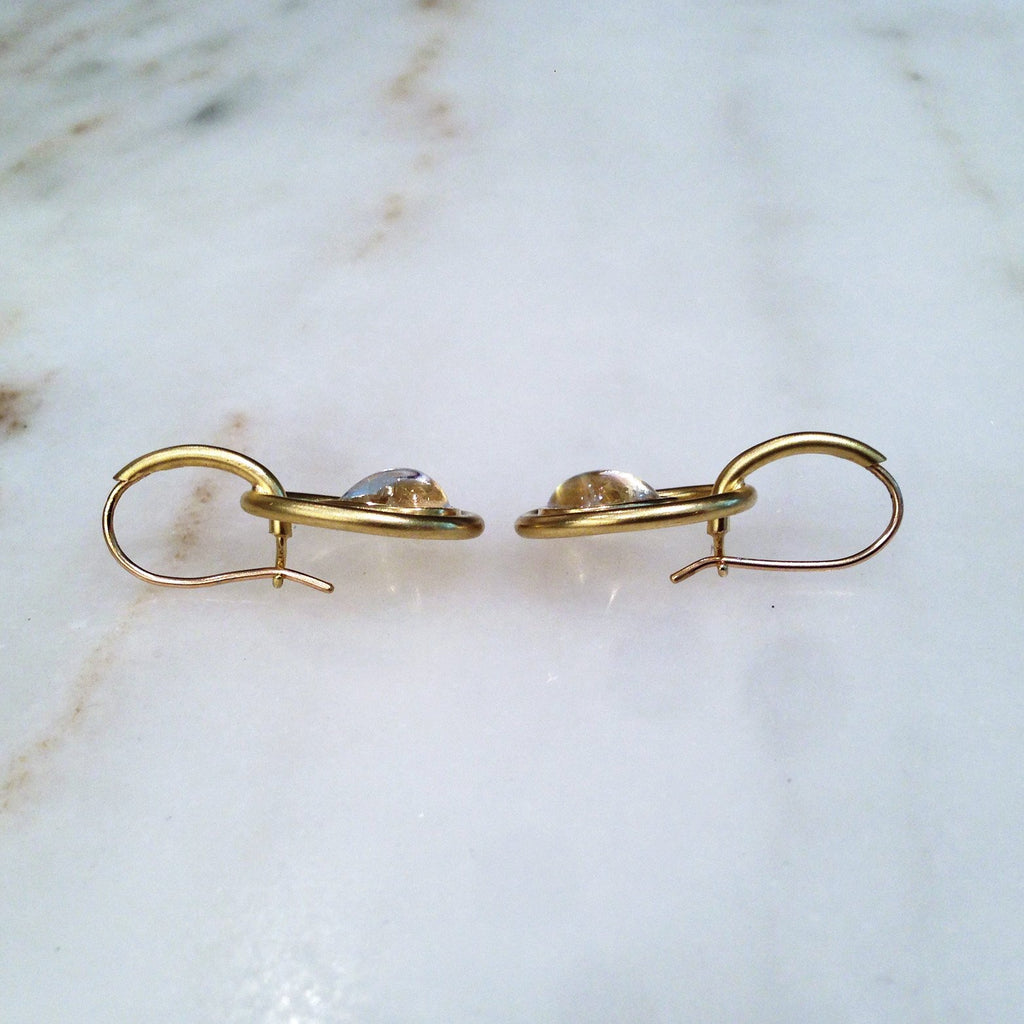 Susan Sadler Pear-Shaped Blue Moonstone Interlink Gold Hook Earrings (Special Order) - Szor Collections