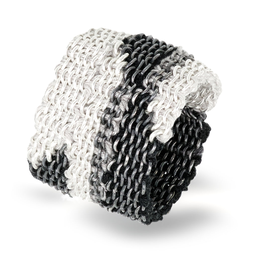 Stephanie Schneider Handwoven Silk Wide Silver '8' Ring - Szor Collections