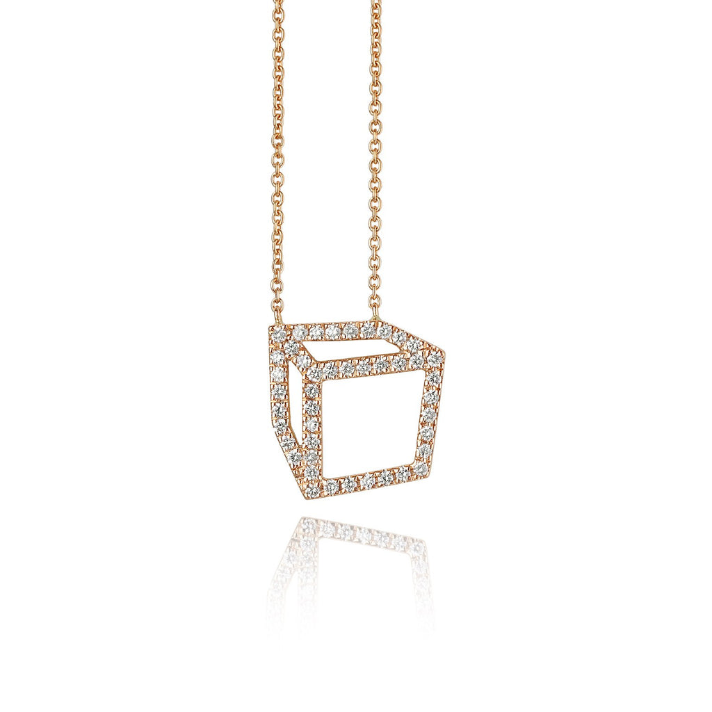 Shimell & Madden Rose Gold White Diamond Cube Necklace - Szor Collections