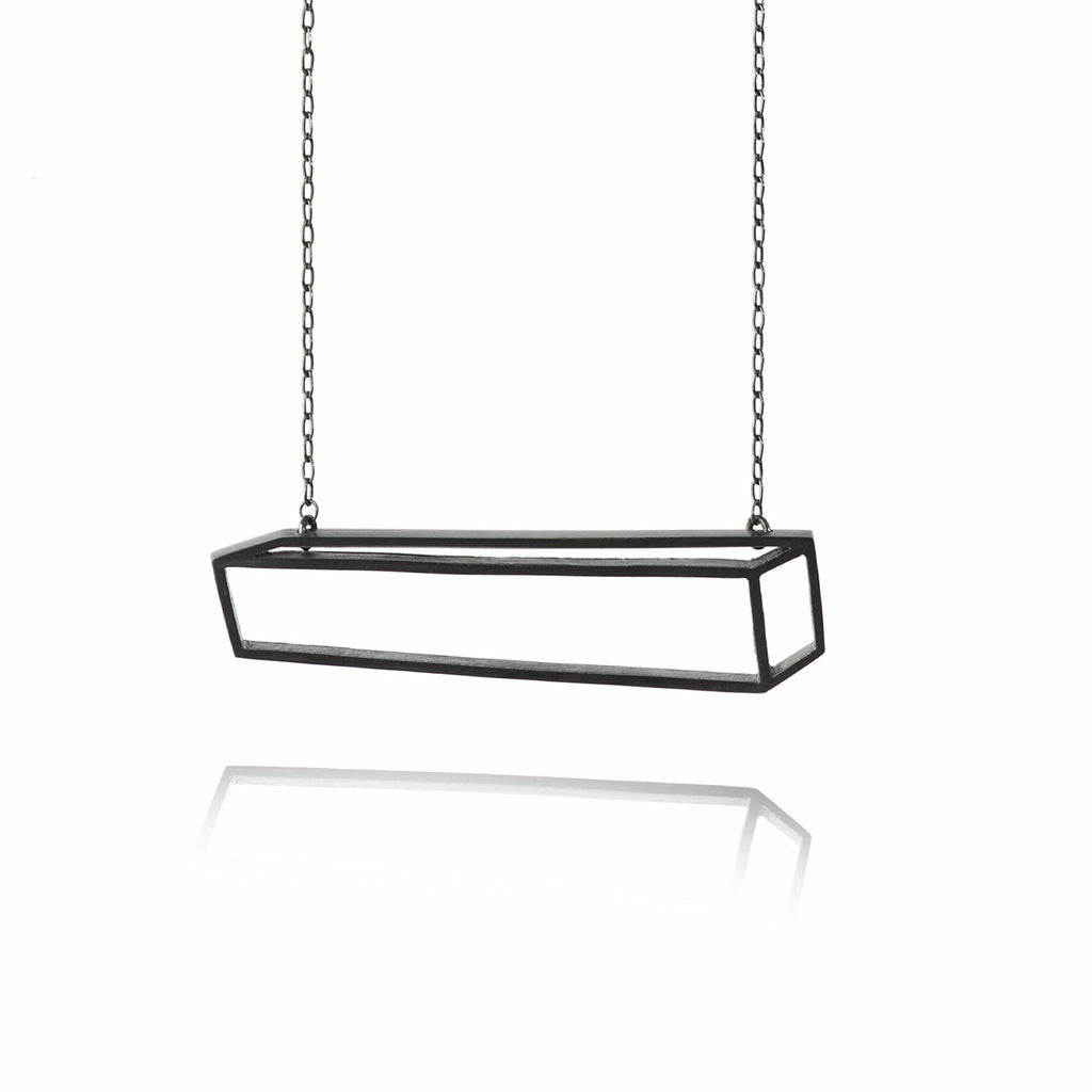 Shimell & Madden Oxidized Silver Horizontal Bar Necklace - Szor Collections - 1
