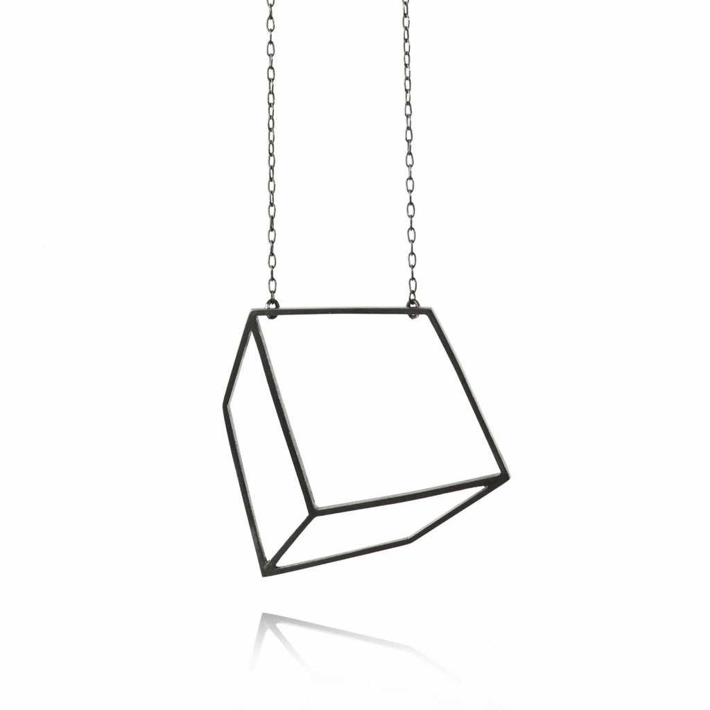 Shimell & Madden Oxidized Silver Large Cube Necklace - Szor Collections