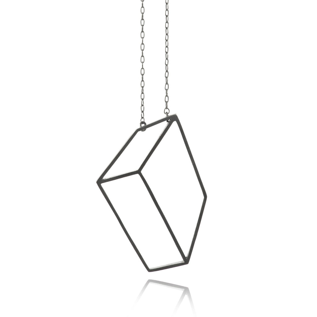 Shimell & Madden Oxidized Silver Flat Cube Necklace - Szor Collections - 1