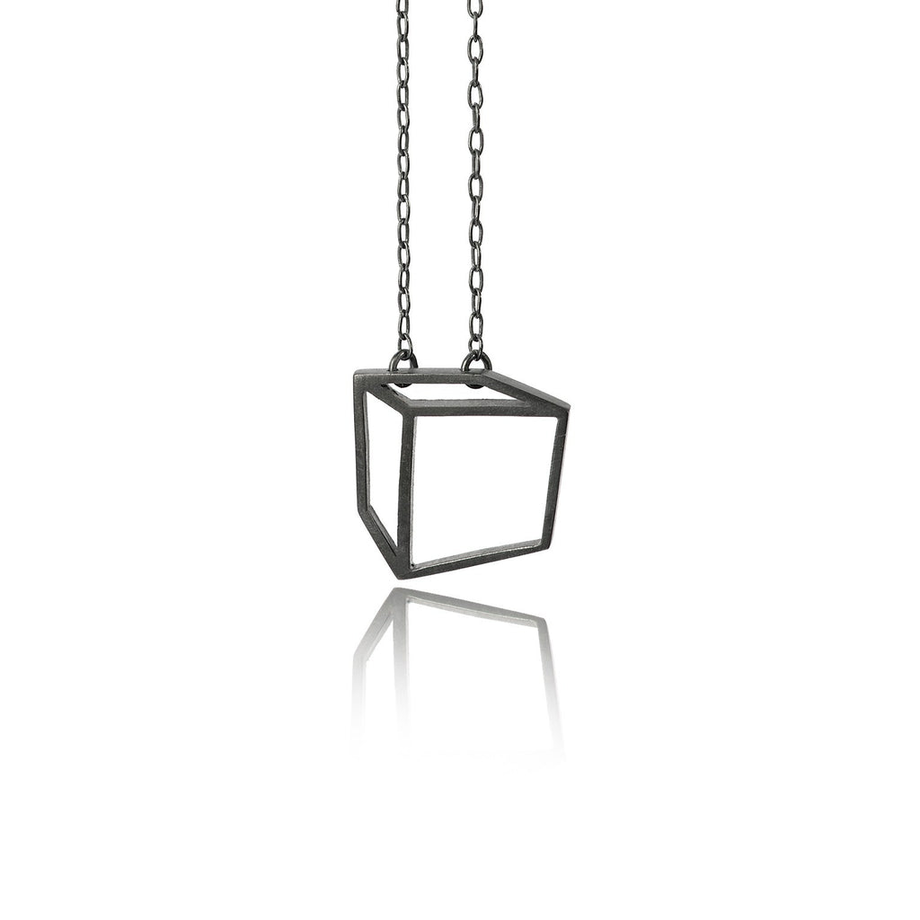 Shimell & Madden Oxidized Silver Small Cube Necklace - Szor Collections