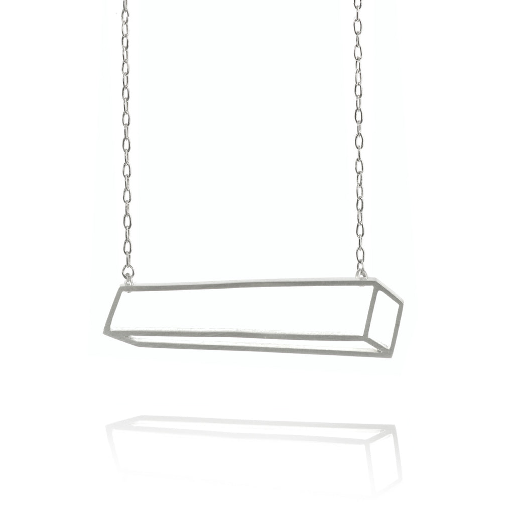 Shimell & Madden Matte Silver Horizontal Bar Necklace - Szor Collections