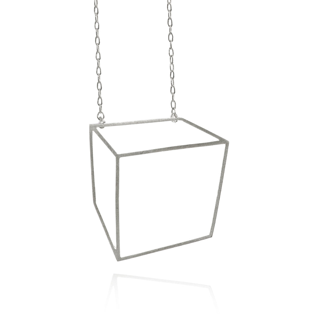 Shimell & Madden Matte Silver Large Cube Necklace - Szor Collections