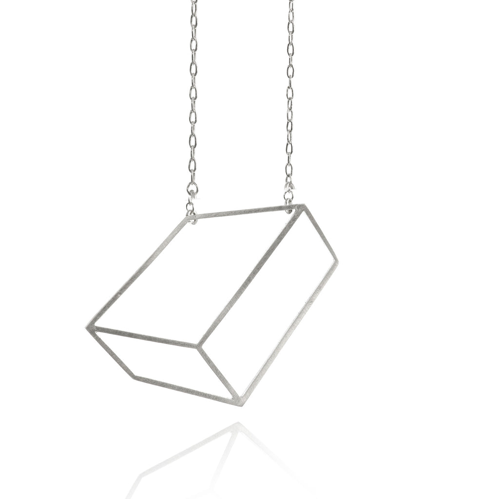 Shimell & Madden Matte Silver Flat Cube Necklace - Szor Collections - 1
