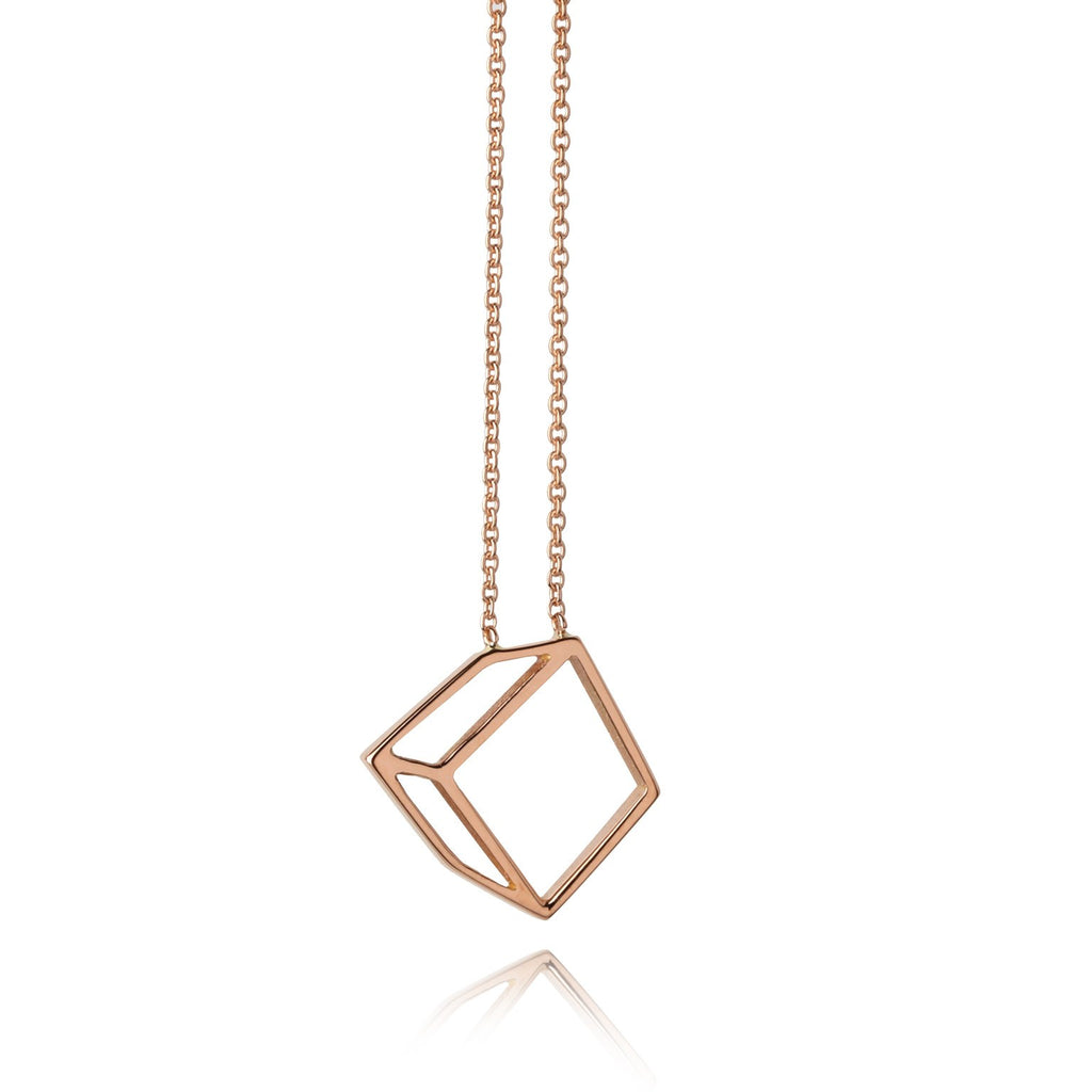 Shimell & Madden 18k Rose Gold Small Cube Necklace - Szor Collections