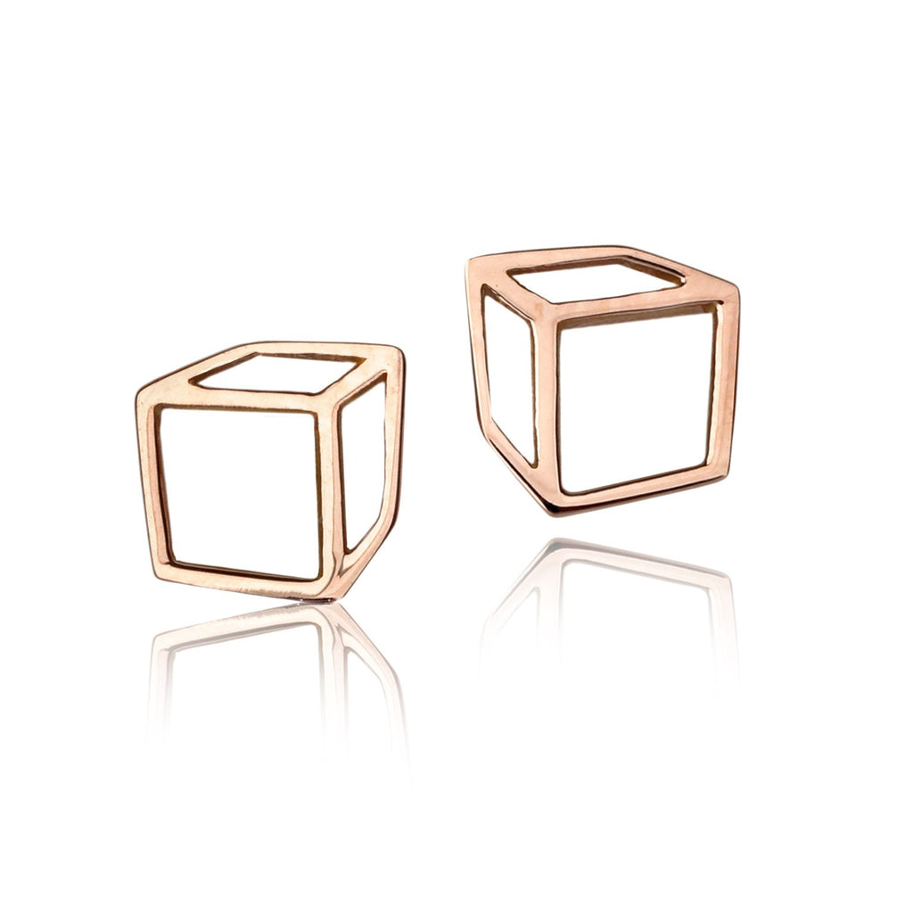 Shimell & Madden Petite Rose Gold Cube Stud Earrings - Szor Collections - 1