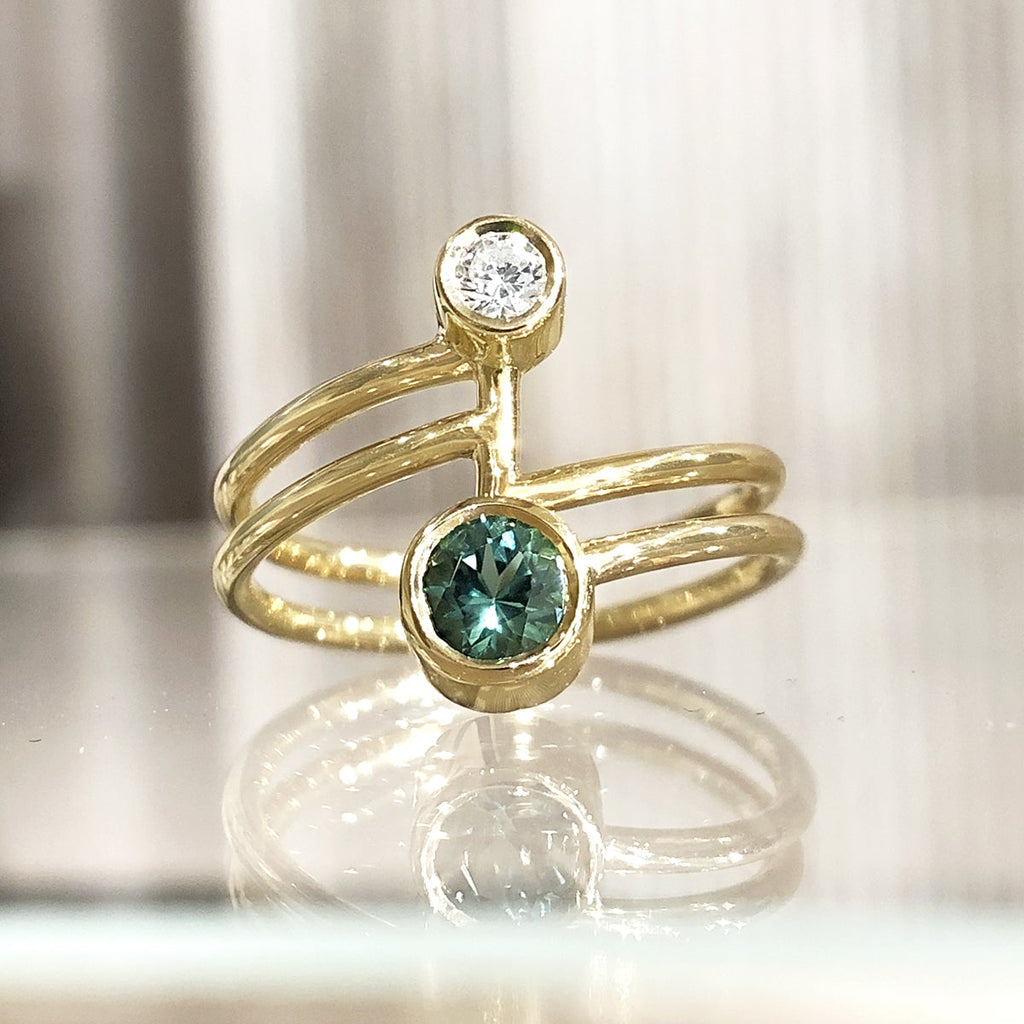 Shimell & Madden Blue Green Tourmaline White Diamond Beta Ring - Szor Collections
