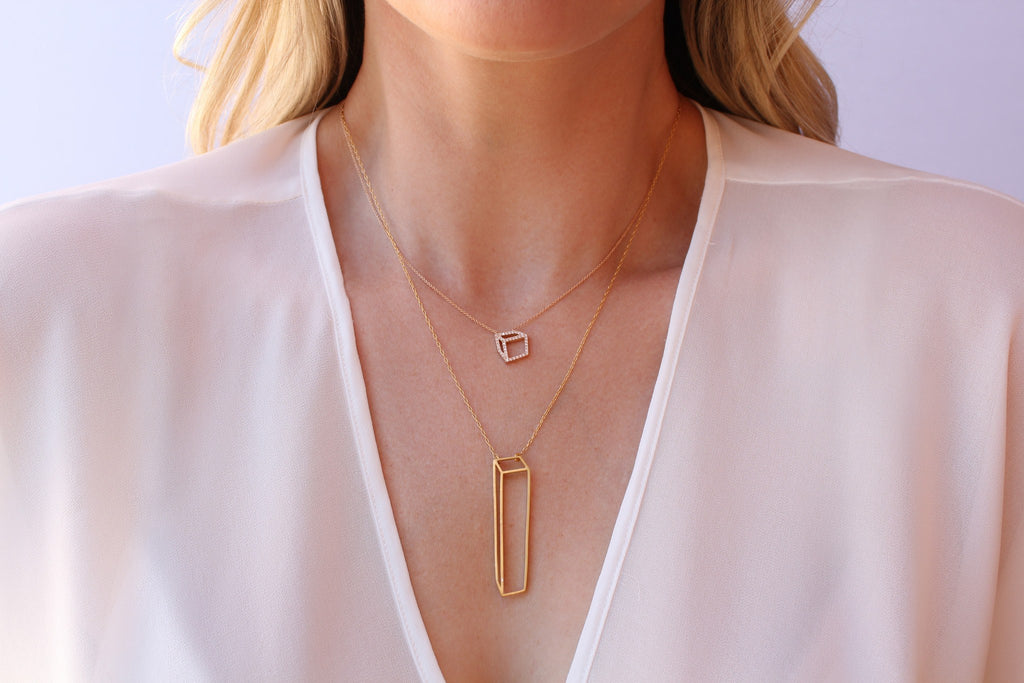 Shimell & Madden Rose Gold White Diamond Cube Necklace - Szor Collections - 2