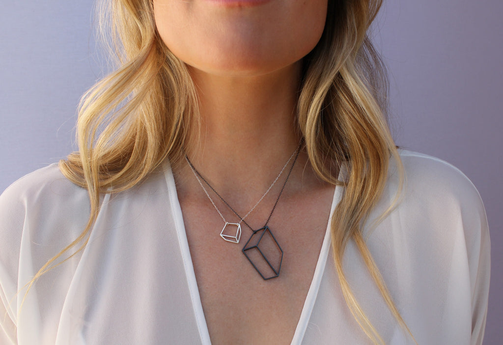Shimell & Madden Oxidized Silver Flat Cube Necklace - Szor Collections - 2