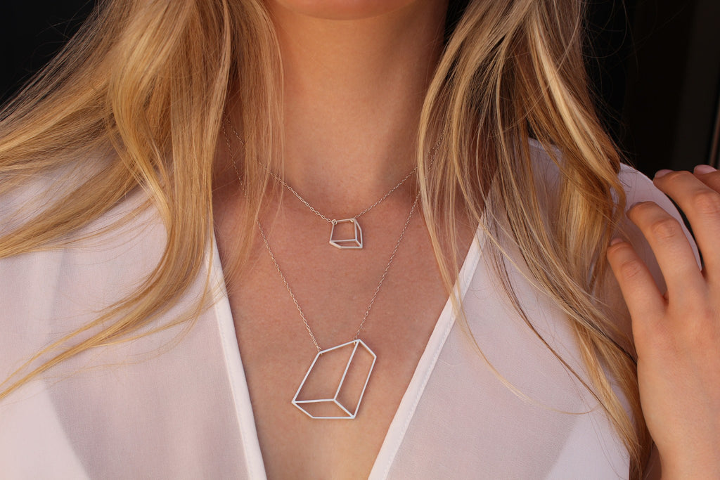Shimell & Madden Matte Silver Flat Cube Necklace - Szor Collections - 2