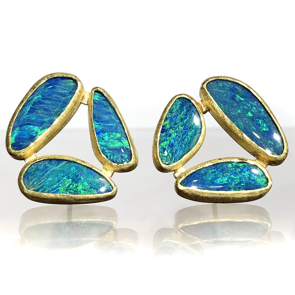 Petra Class Australian Opal Triple Stone Gold Stud Earrings - Szor Collections