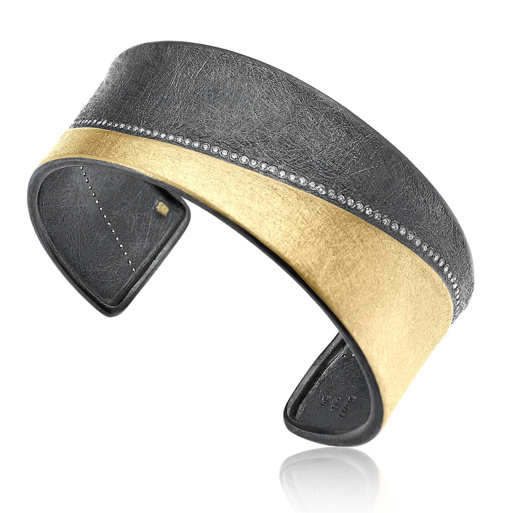 Todd Reed Brilliant Cut White Diamond Gold Patina Silver Curve Cuff Bracelet - Szor Collections