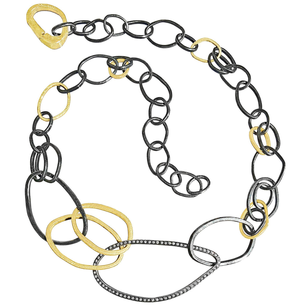 Todd Reed White Diamond Gold Patina Silver Links Necklace - Szor Collections