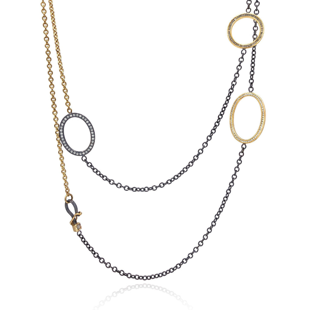 Todd Reed White and Raw Diamond Gold Silver Triple Open Link Necklace - Szor Collections