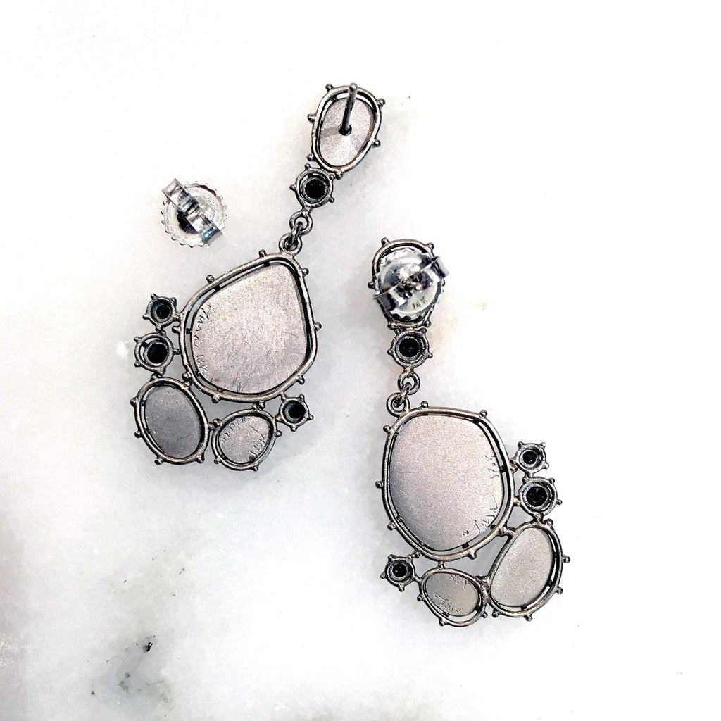 Tura Sugden Gray & Black Diamond Palladium Gold Drop Earrings - Szor Collections