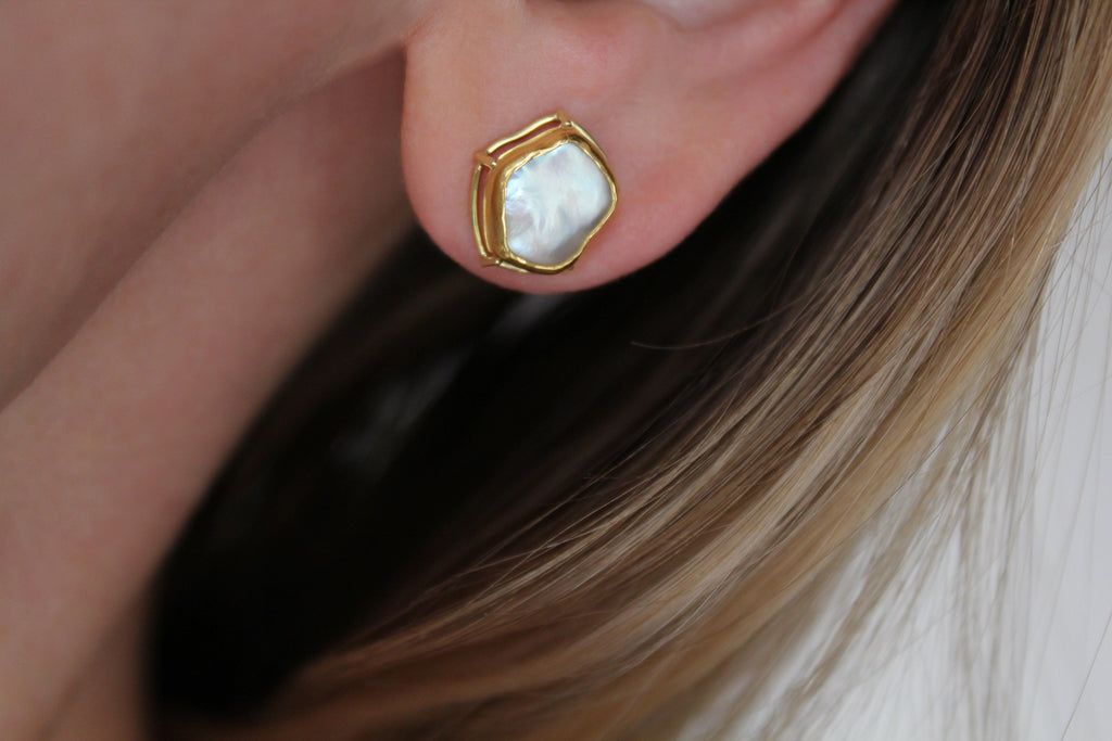 Tura Sugden Gold Keshi Pearl Stud Earrings - Szor Collections