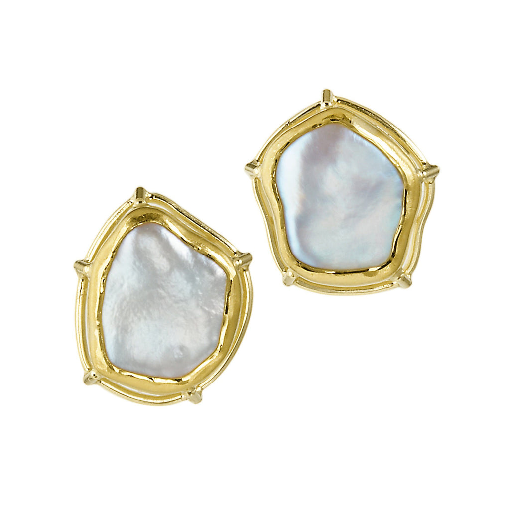 Tura Sugden Gold Keshi Pearl Stud Earrings (Special Order) - Szor Collections