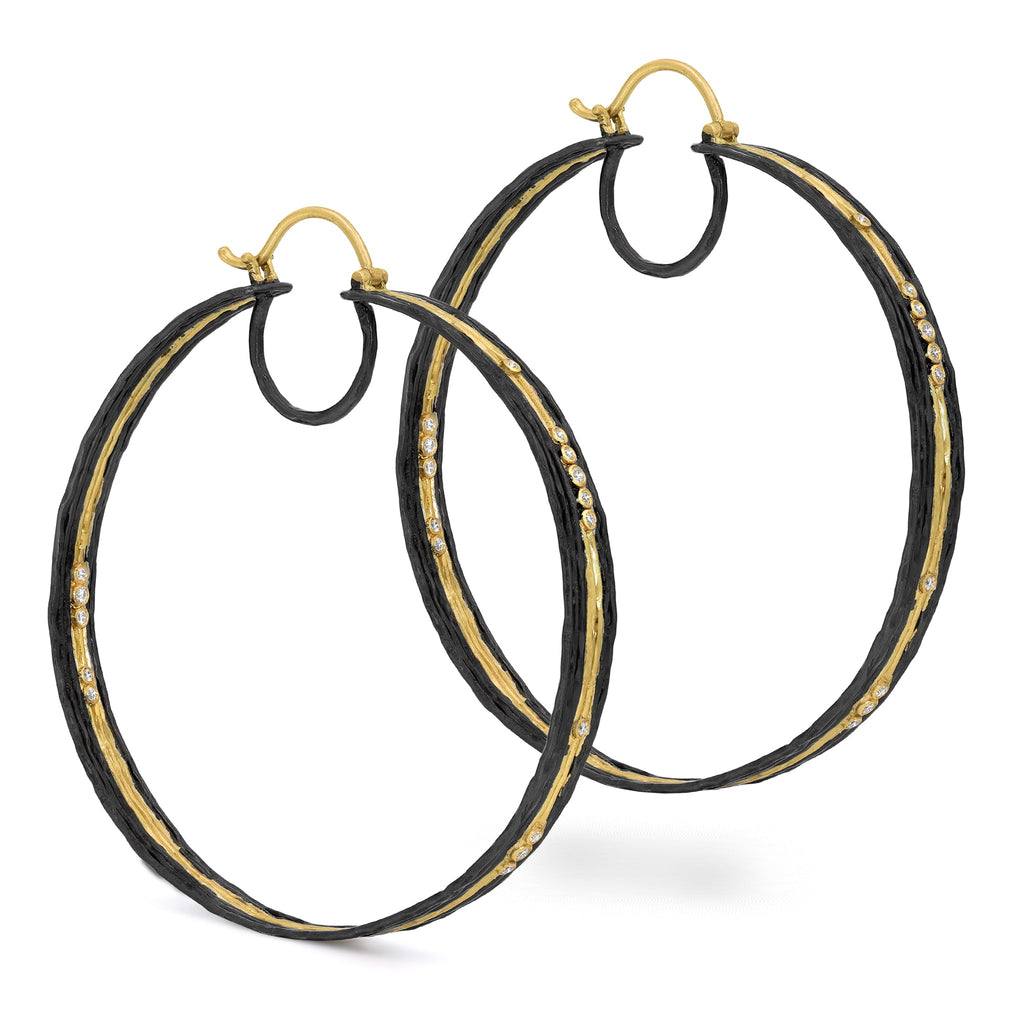 Kothari Oversize Gold Black Rhodium Silver Diamond Waterflow Hoop Earrings - Szor Collections