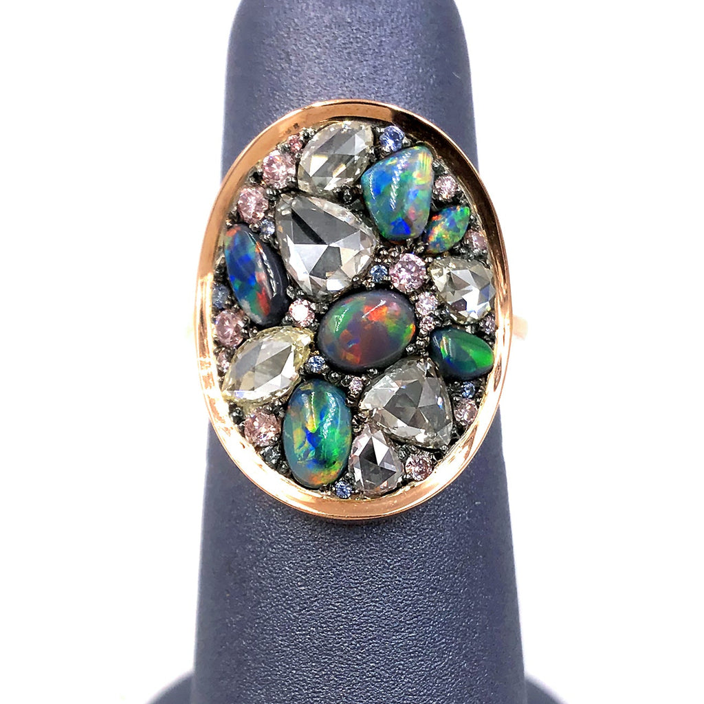 Joke Quick Black Opal Rose-Cut and Fancy Pink Diamond No Heat Blue Sapphire Ring - Szor Collections