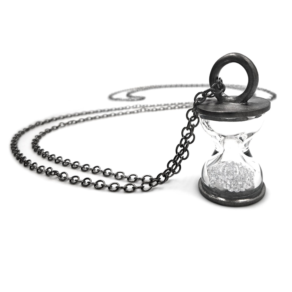 Wille Jewellery Black Rhodium Silver Hourglass Necklace (Special Order) - Szor Collections
