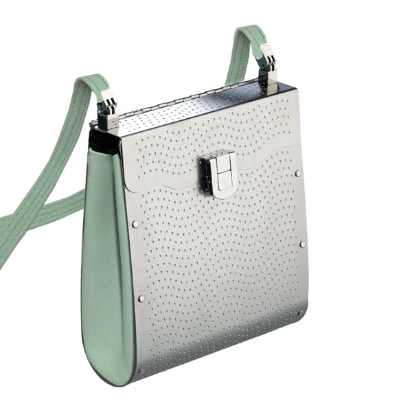 27dbd0c6a099 Wendy Stevens Stainless Steel Powder Blue Leather Tangent Bag (Special  Order) - Szor Collections