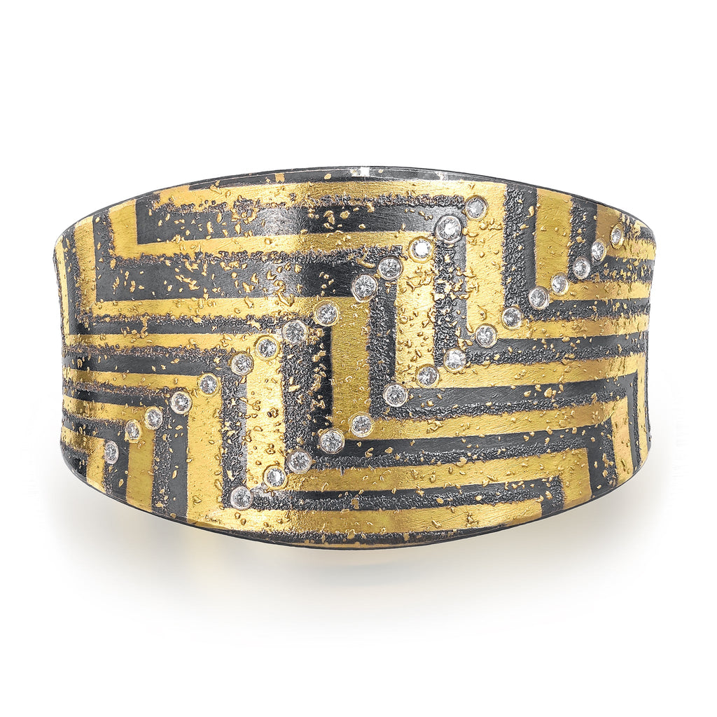 Atelier Zobel One of a Kind White Diamond 24K Gold Oxidized Silver Cuff Bracelet - Szor Collections