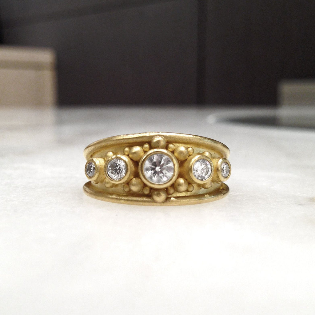 Denise Betesh - Denise Betesh Diamond Gold Granulation Cigar Band Ring - Szor Collections - 2