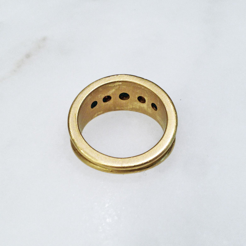 Denise Betesh - Denise Betesh Diamond Gold Granulation Cigar Band Ring - Szor Collections - 6