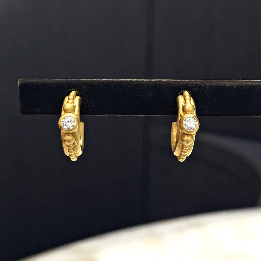 Denise Betesh Diamond Gold Huggie Hoop Earrings (Special Order) - Szor Collections