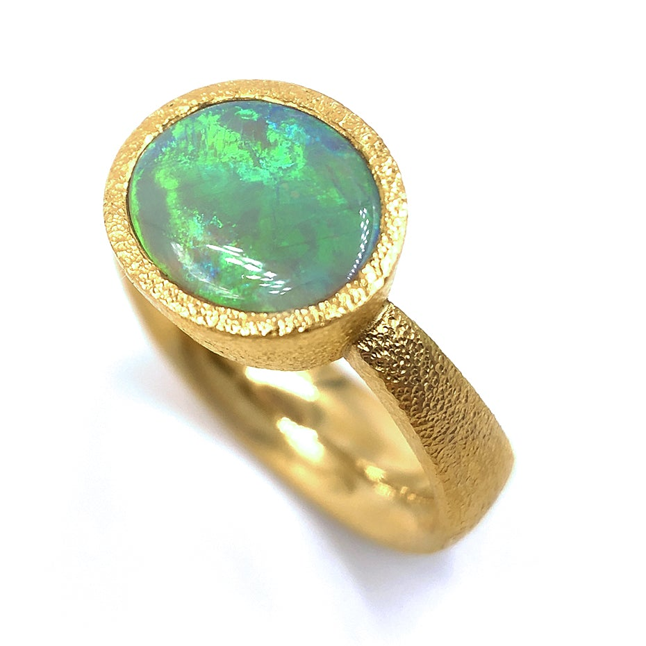 Devta Doolan Lightning Ridge Opal High Karat Gold One of a Kind Ring - Szor Collections