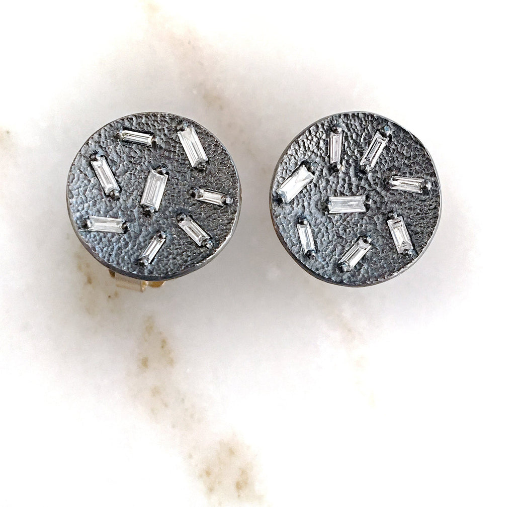 Elizabeth Garvin Diamond Concave Coin Oxidized Silver Stud Earrings - Szor Collections