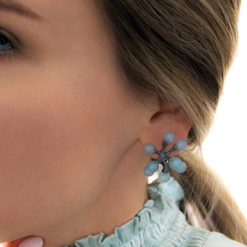 John Iversen Glowing Aquamarine Oxidized Silver Jacks Clip Earrings - Szor Collections