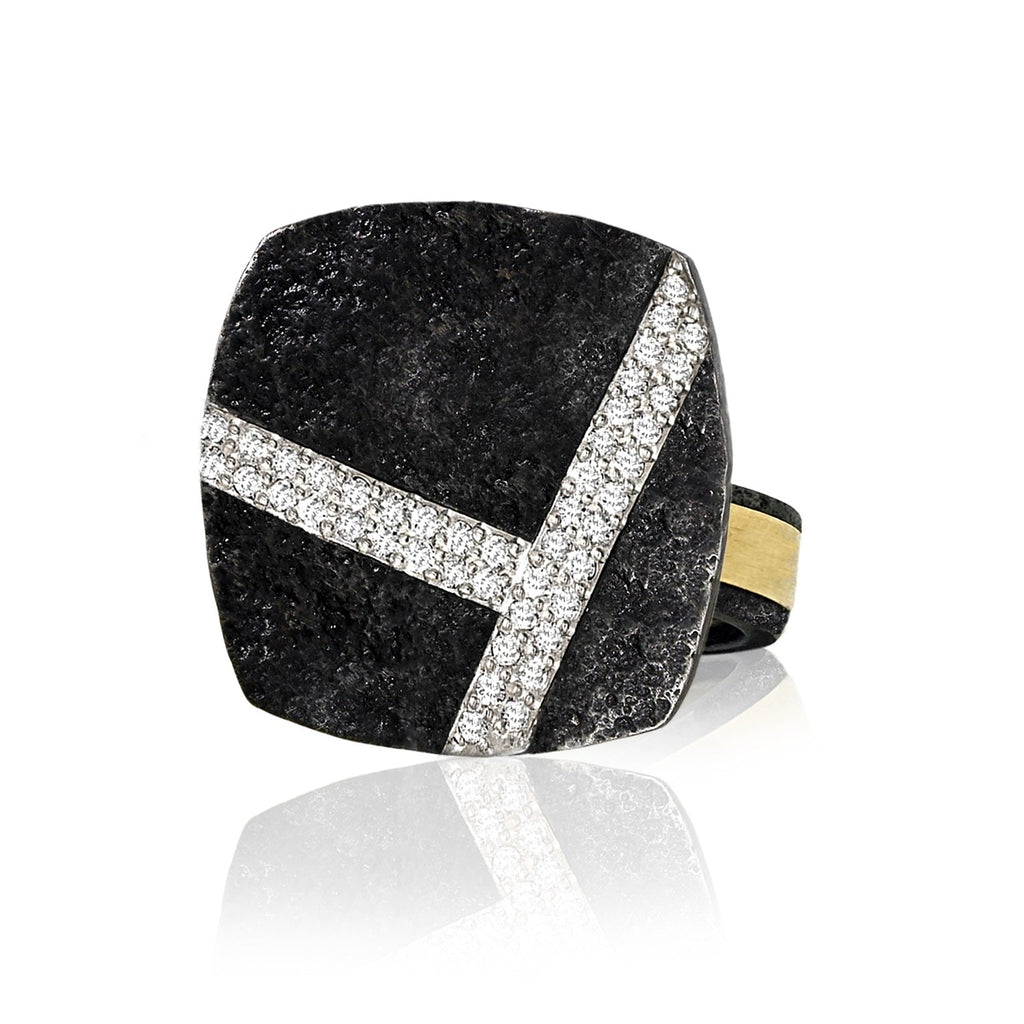 Jaclyn Davidson Carbon Steel White Diamond Gold Cubed Ring - Szor Collections