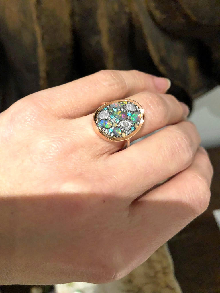 Joke Quick Black Opal Paraiba Tourmaline Ethiopian Opal Diamond Starstruck Ring - Szor Collections
