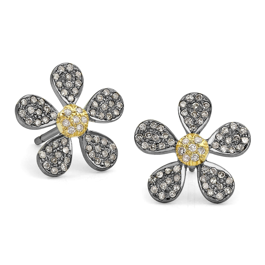 Liza Beth Pave Diamond Flower Yellow Gold Rhodium Silver Stud Earrings - Szor Collections