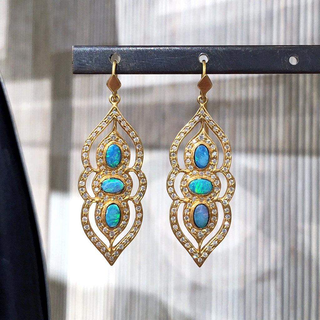 Lauren Harper Boulder Opal White Diamond Arabesque Drop Earrings - Szor Collections