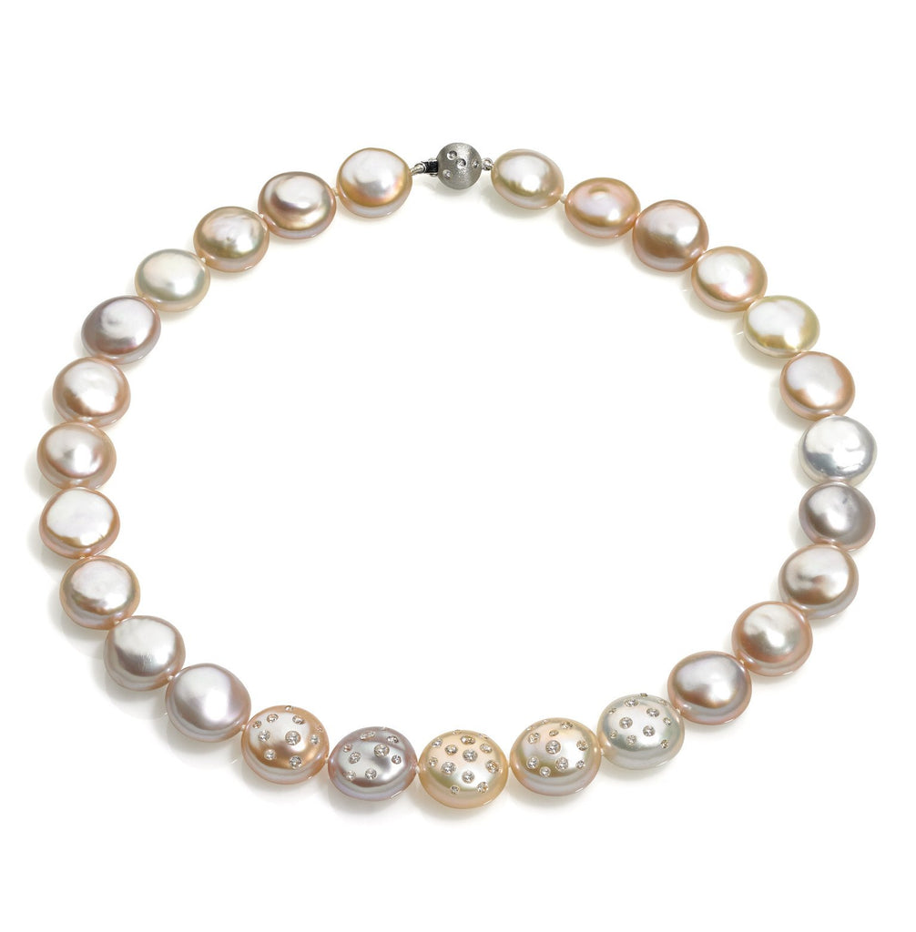 Russell Trusso - Russell Trusso One of a Kind Graduated Coin Pearl Diamond-Embedded Gold Necklace - Szor Collections - 1