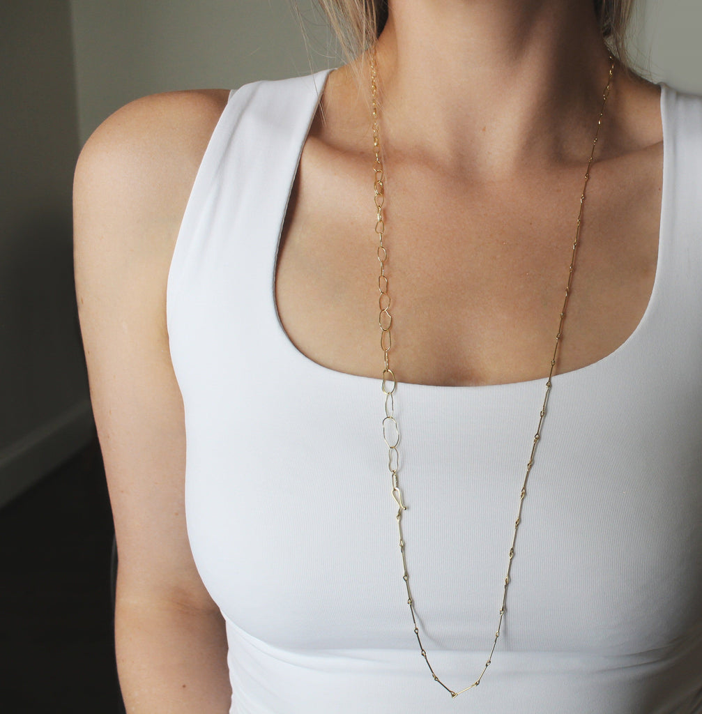 Tura Sugden Handmade Organic Link Gold Chain Necklace - Szor Collections