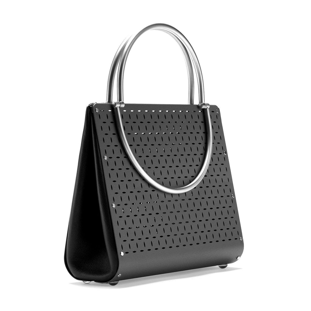 Wendy Stevens Black Stainless Steel Leather Washington Bag - Szor Collections