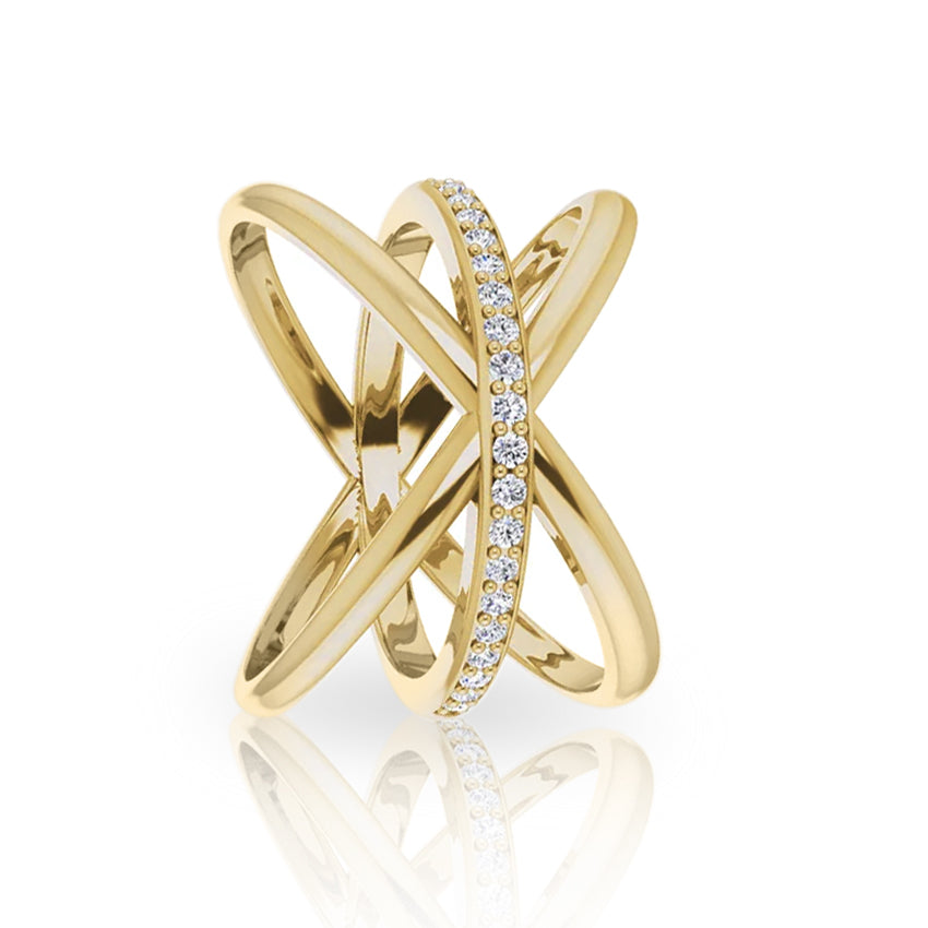 Yellow, Rose, or White Gold + Diamond Intertwine Ring - Szor Collections