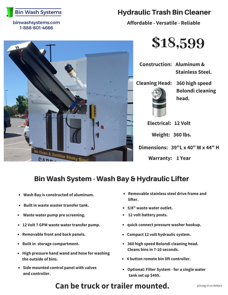Low Cost Hydraulic Trash Bin Cleaner for Sale $18,599.