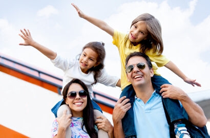 family relaxing together parents with children freedom
