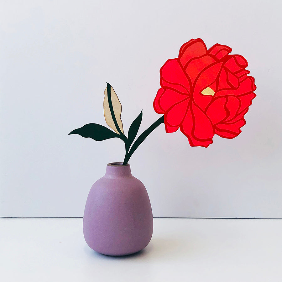 FOREVER FLOWER - PEONY - CORAL RED