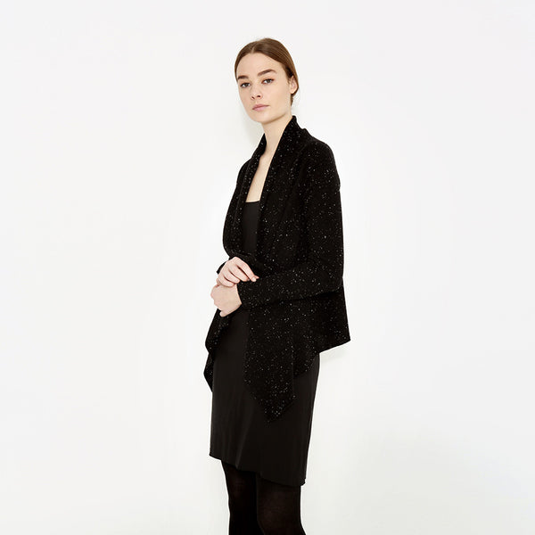 "<i id=""HT"">03</i> Exposed Outseamed Cashmere Open Cardigan with Thumbholes"