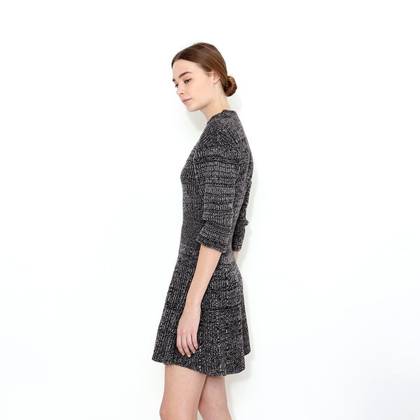 "<i id=""HT"">04</i> High Crew-neck Puffed Sleeve Cashmere Flare Dress"
