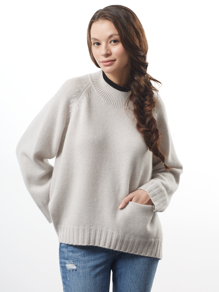 "<i id=""HT"">11</i> Oversized Pullover With Tipping and Pocket"
